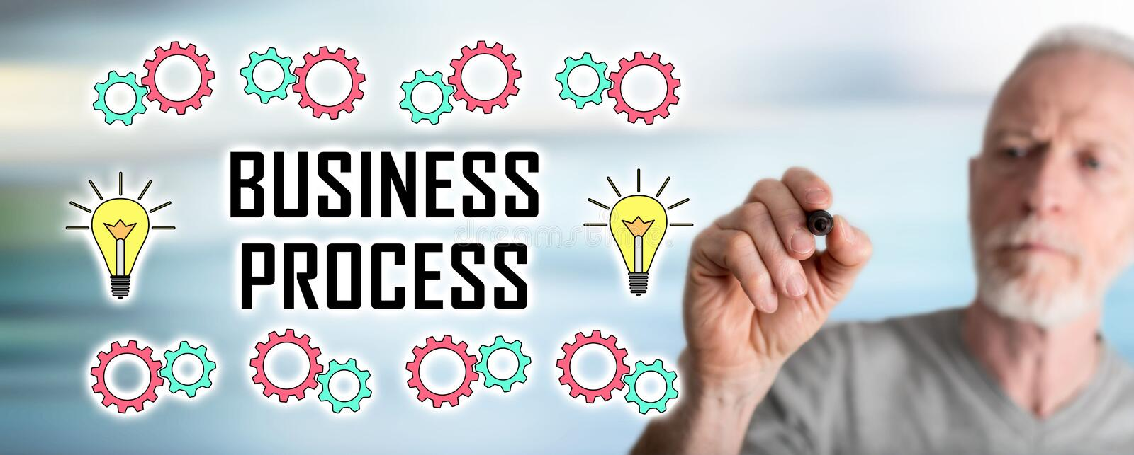 Man drawing business process concept royalty free stock images
