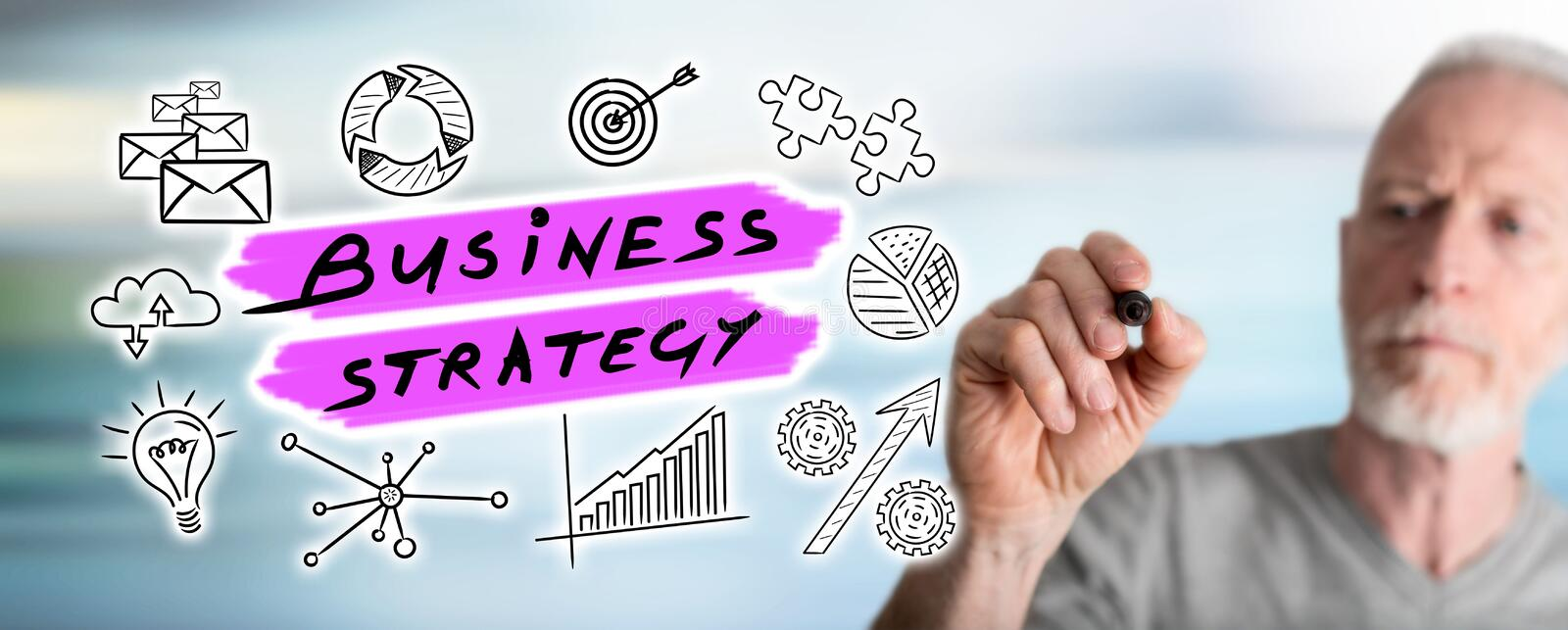 Man drawing business strategy concept. Business strategy concept drawn by a man royalty free stock photos