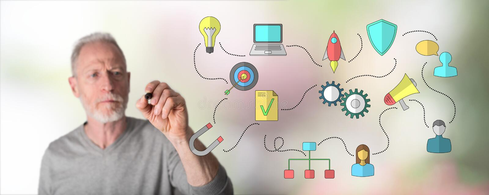 Man drawing business strategy concept. Business strategy concept drawn by a man stock image