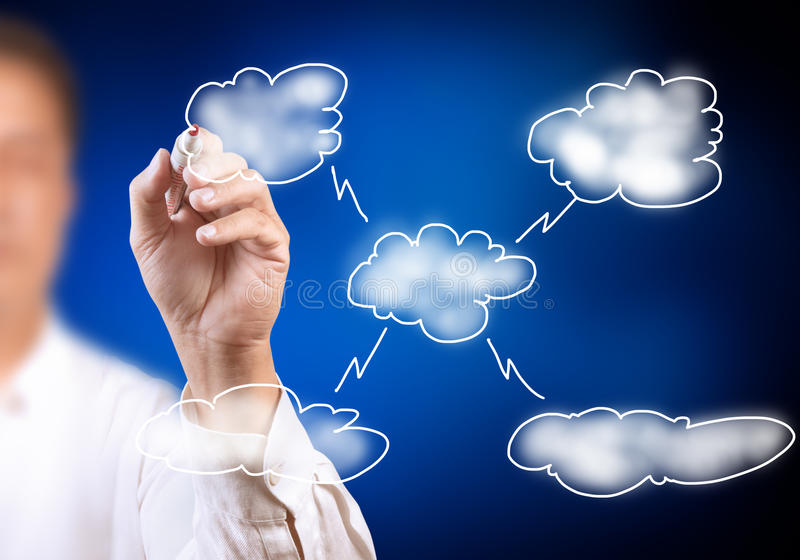 Man drawing cloud network on white board royalty free illustration