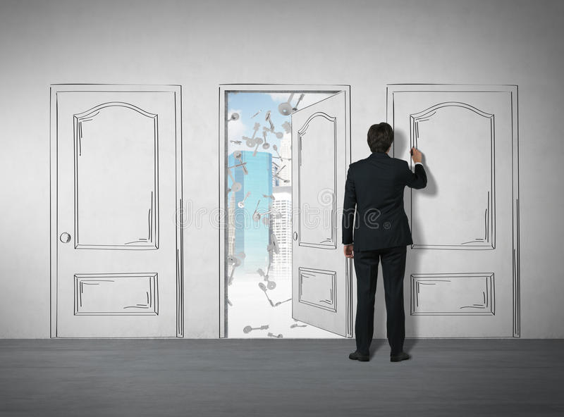 Download Man Drawing A Door With A Marker Stock Illustration - Image: 83722148