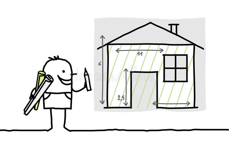 Man drawing house plan royalty free illustration