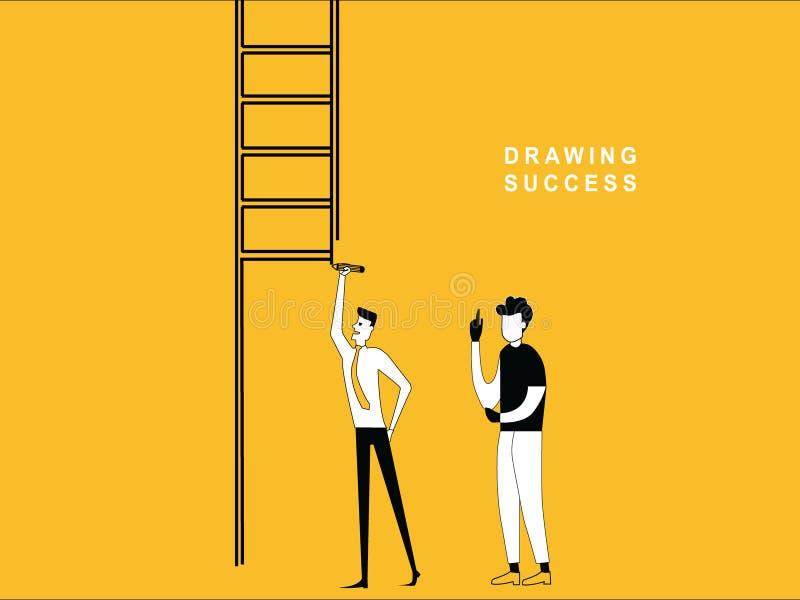 Man drawing Ladder royalty free illustration