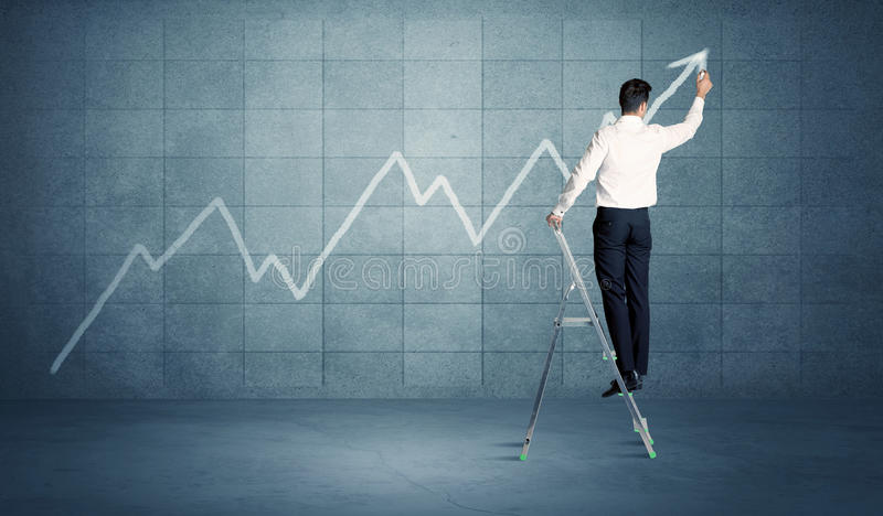 Man drawing line from ladder royalty free stock photos