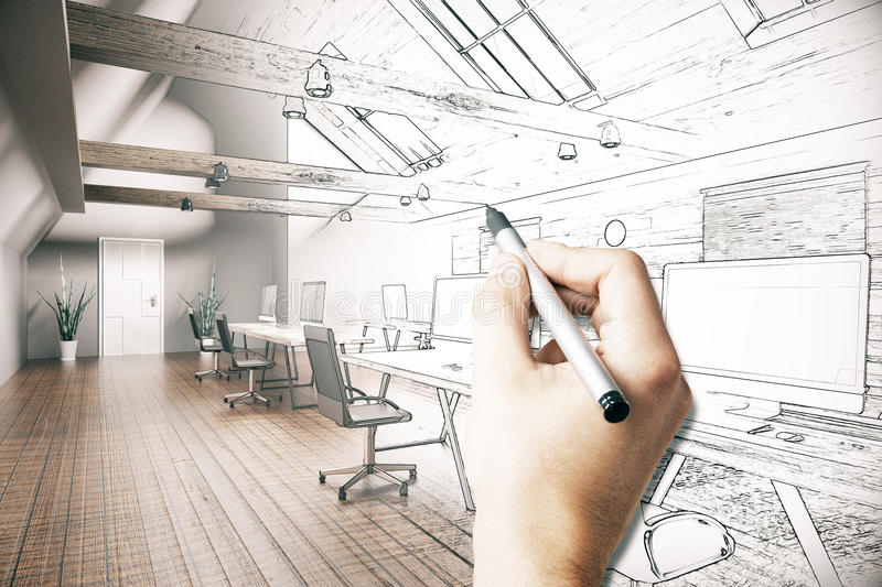 Man drawing office project stock illustration