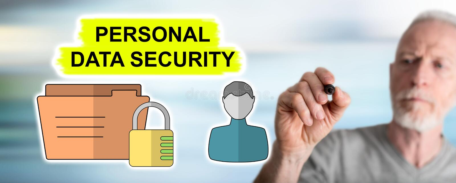 Man drawing personal data security concept. Personal data security concept drawn by a man royalty free stock images