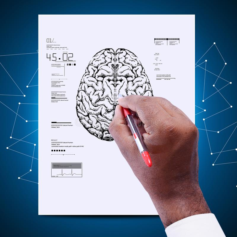 Man drawing the sketch of brain royalty free stock image