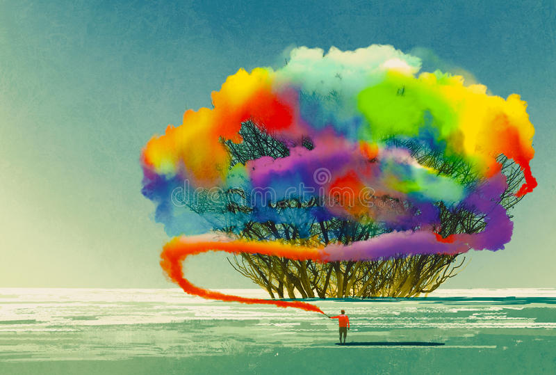 Man draws abstract tree with colorful smoke flare vector illustration