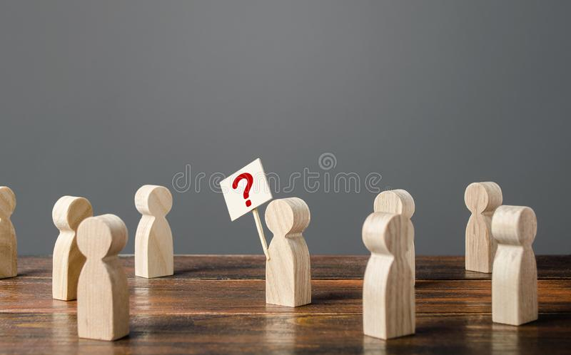Man draws attention to the issue. Asking questions, searching for truth. Curiosity. Population poll survey. Social problems and. The search for methods for royalty free stock photos