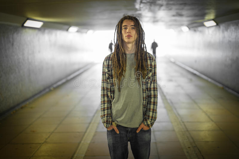 Man with dreadlocks stock image