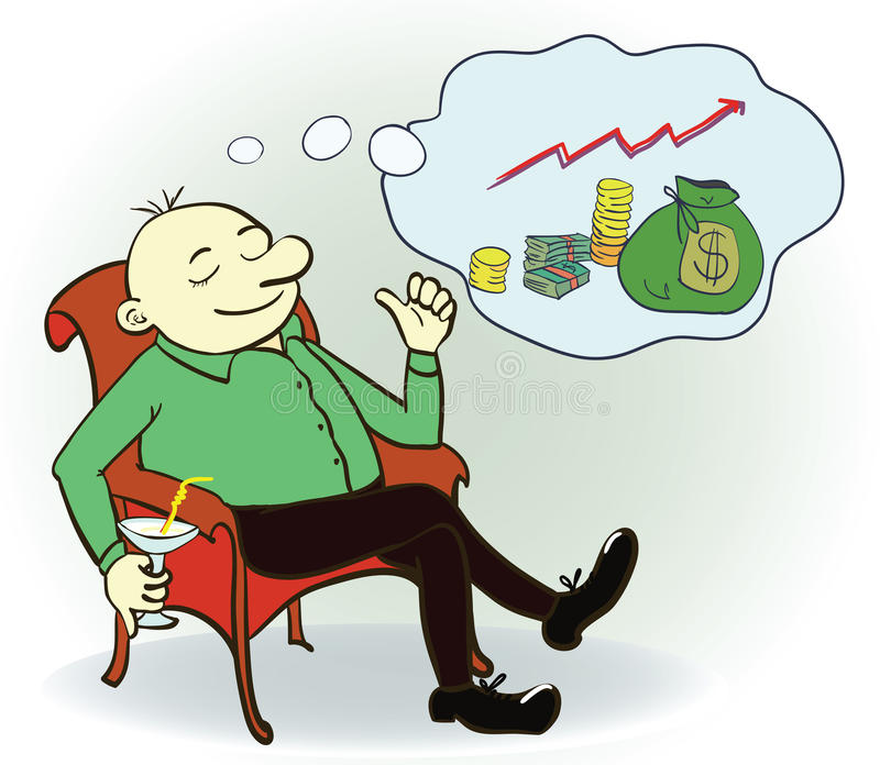 Man dream about money. Concept. Vector. Illustration royalty free illustration