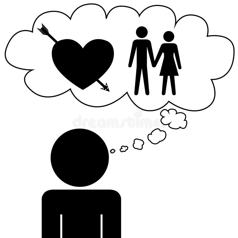 Man dream at relation. Illustration (vector) of a person that is dreaming at a relation royalty free illustration