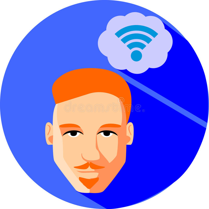 Man dreams of Internet connection. Flat Style. Fashionable red-haired man with a beard and mustache, hipster on a blue background. stock illustration