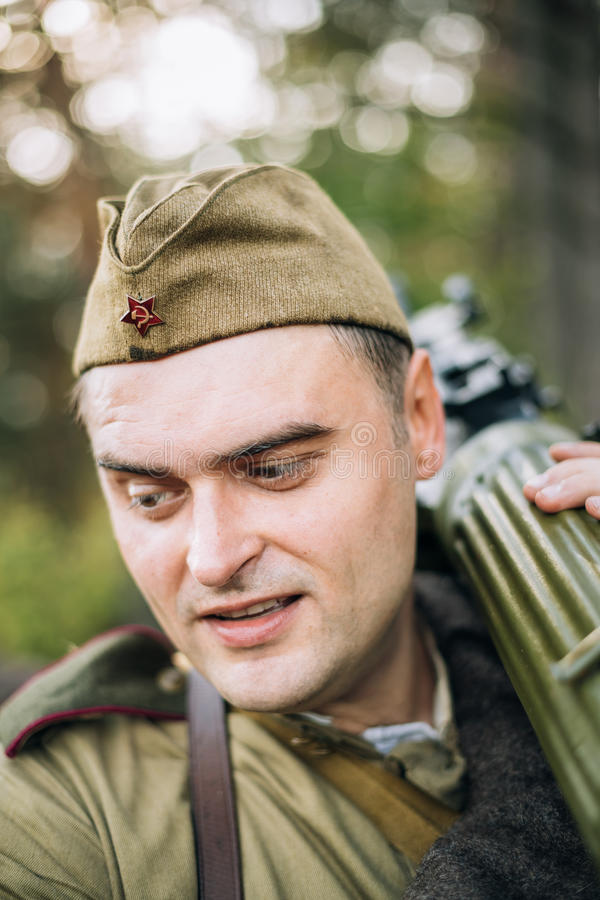 Man Dressed As Russian Soviet Red Army Infantry Soldier Of World War II. Dyatlovichi, Belarus - October 1, 2016: Man Reenactor Dressed As Russian Soviet Red Army royalty free stock images