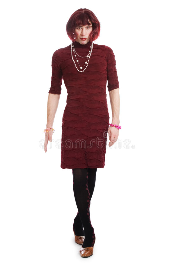 A Man Dressed As A Woman Stock Image. Image Of Emotional