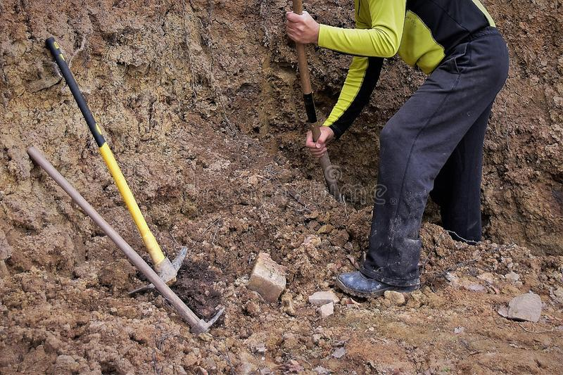 Man digging a hole with a shovel for the project. Man dressed in black trousers and black and yellow sweatshirt digging a hole with a shovel for the project royalty free stock images