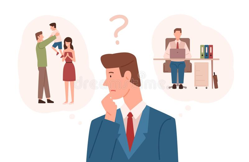 Man dressed in business suit choosing between family responsibilities and career. Difficult choice, life dilemma royalty free illustration