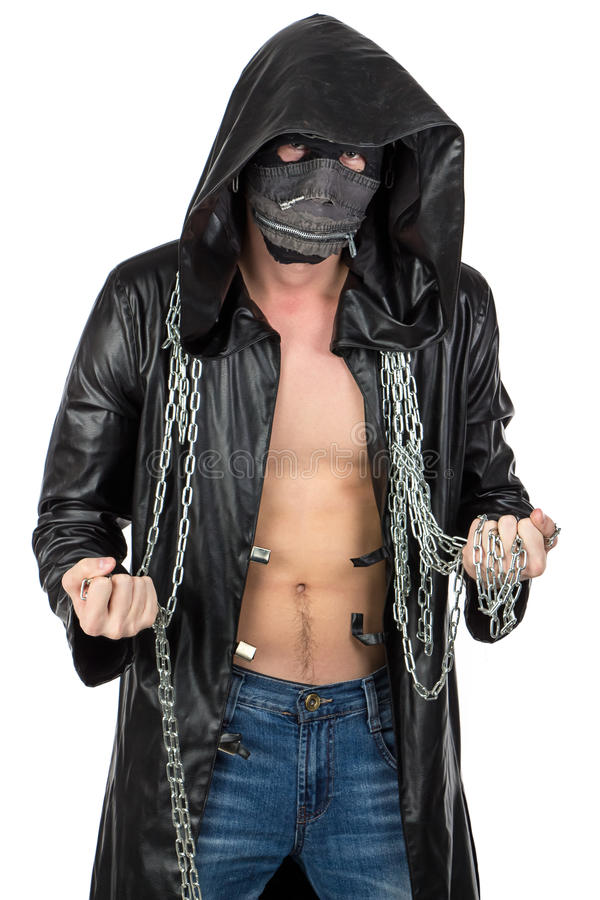 The man dressed in hooded cloak with chain. Photo of the man dressed in hooded cloak with chain on white background stock photo