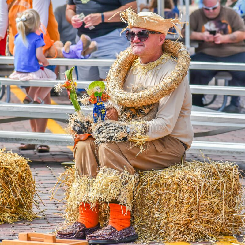 Free Man Dressed Like Scarecrow Sitting On Hay Stock Photo - 172036140