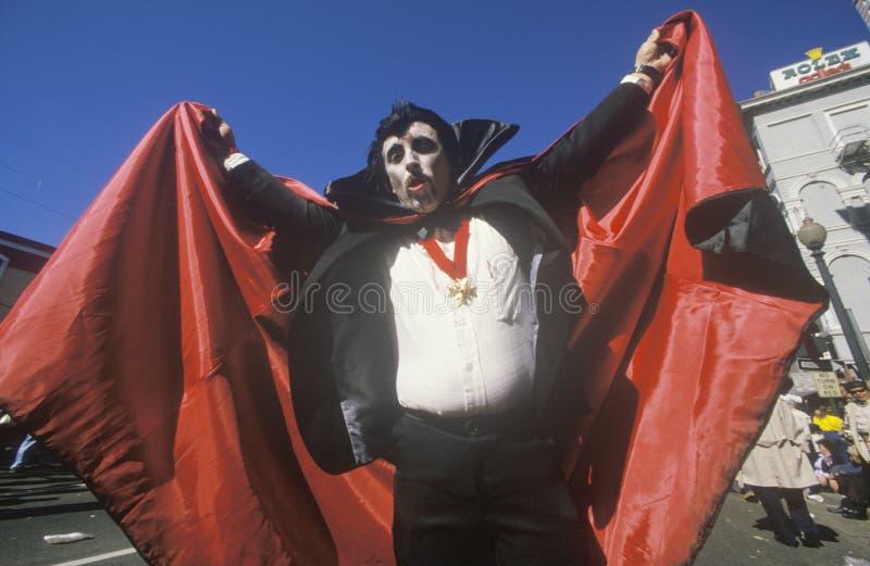 Man Dressed in Mardi Gras Dracula Costume, New Orleans, Louisiana stock image