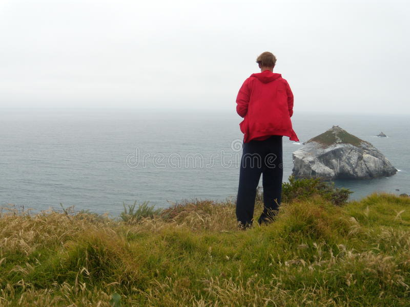Man is dressed red hoody staying back and looking at the ocean. Road 1 California royalty free stock photos