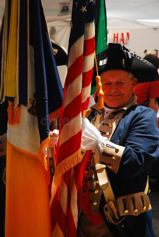 Colonial Regiment, Philadelphia. A man dressed in a Revolutionary war soldier`s costume tales part in a Colonial Regiment presentation in Philadelphia stock images