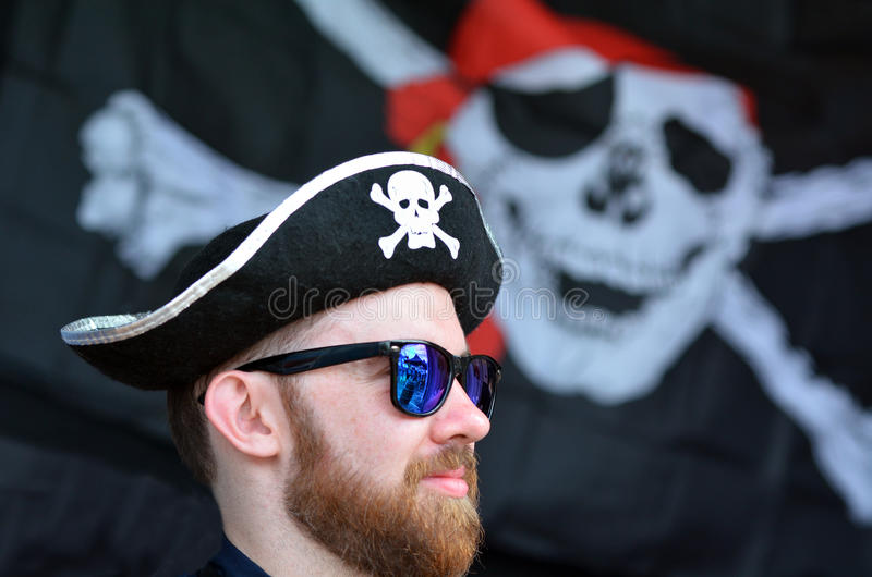Man dressed up as a pirate stock photography