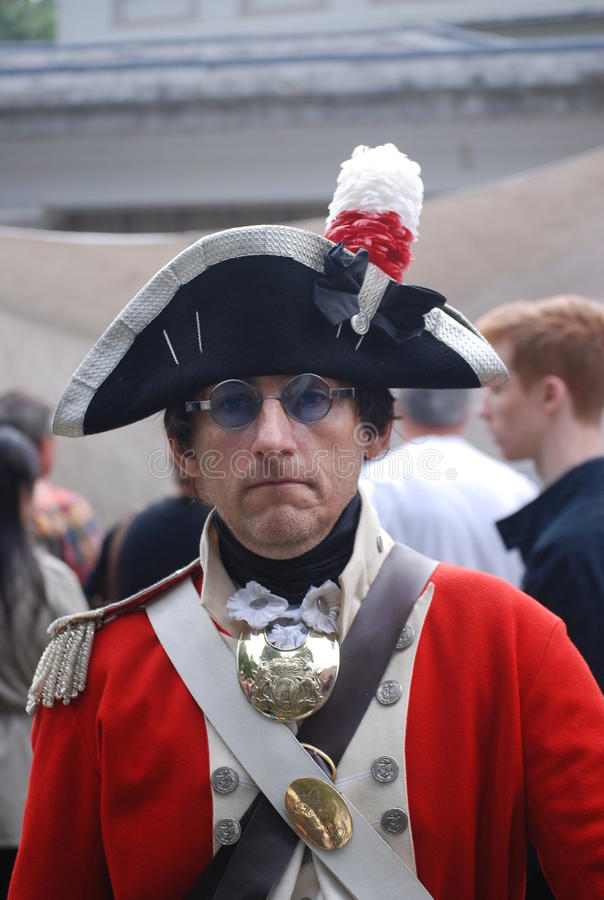 Man dressed up in old uniform royalty free stock photography