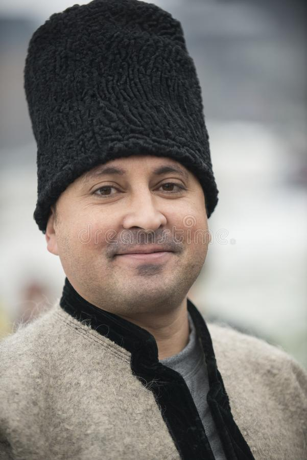 Man dressed in winter traditional Romanian clothes stock image