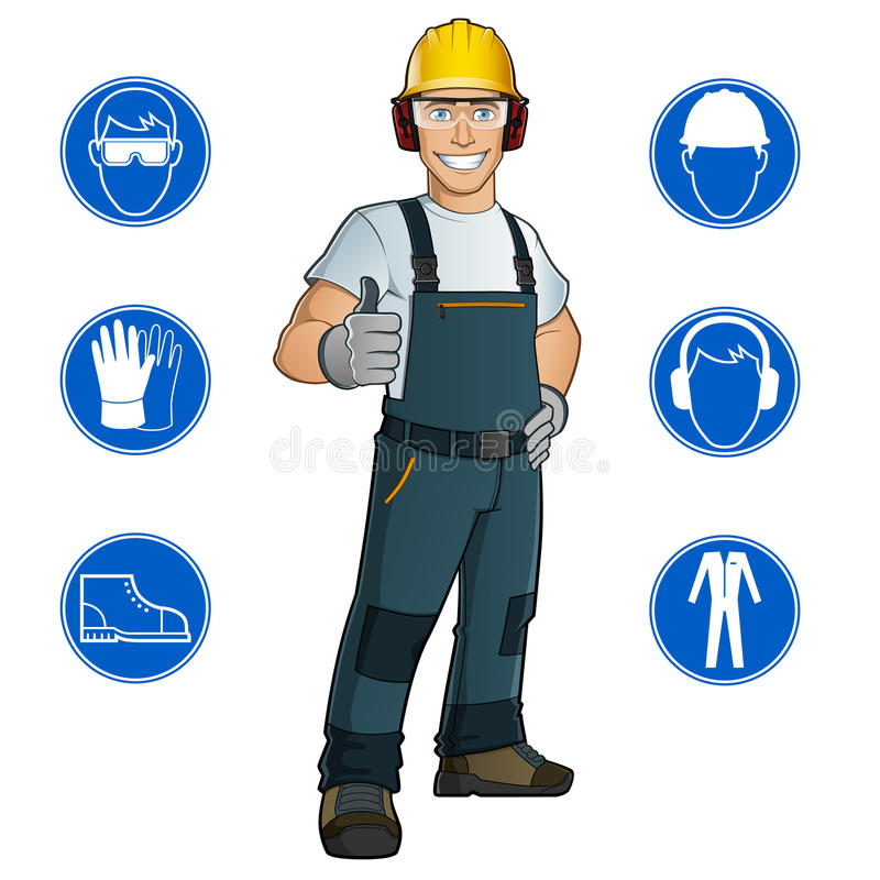 Man dressed in work clothes. With helmet, goggles, gloves, and Safety at work signs stock illustration