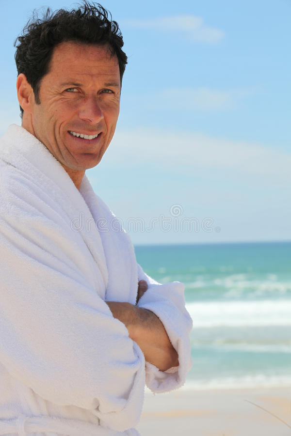 Download Man In Dressing Gown Outdoors Stock Image - Image of blue, summer: 27089665