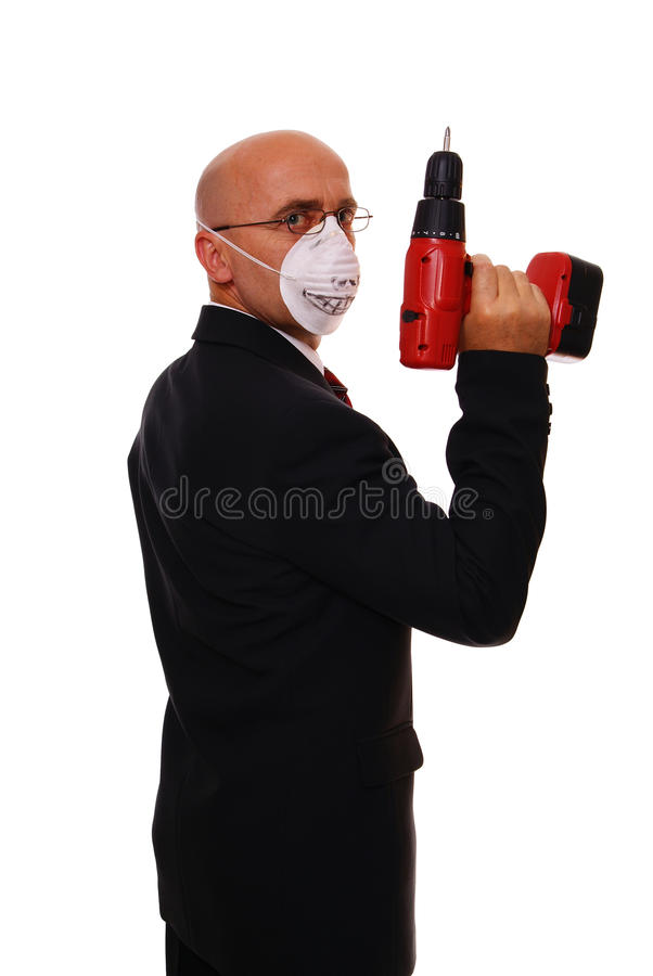 Man and drill stock photography