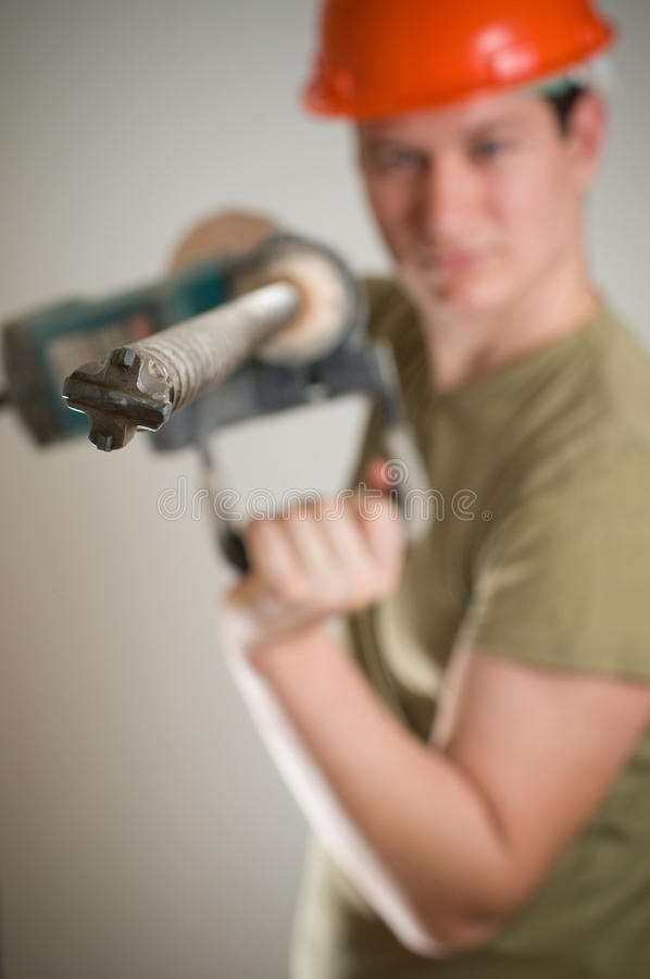 Download Man with drill stock photo. Image of adult, knock, tools - 13124338