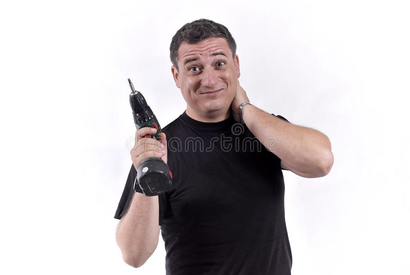 Man With A Drill Machine Stock Photography