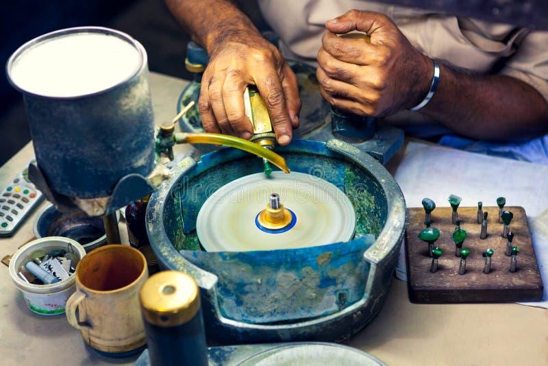 Man Drilling Precious Stone, Close Up royalty free stock photography