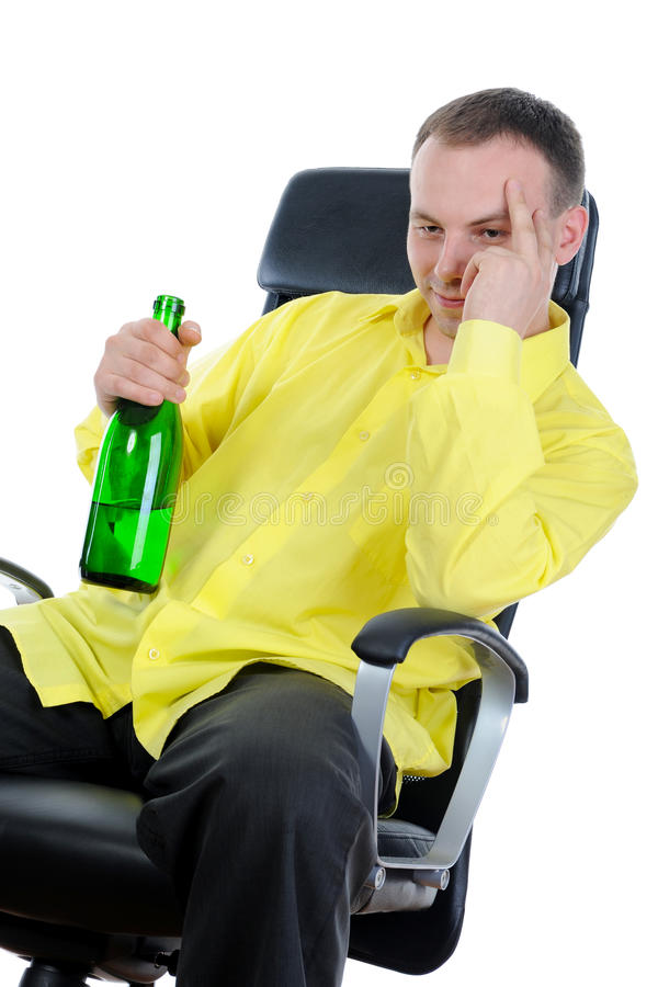 Man drinking alcohol. stock images