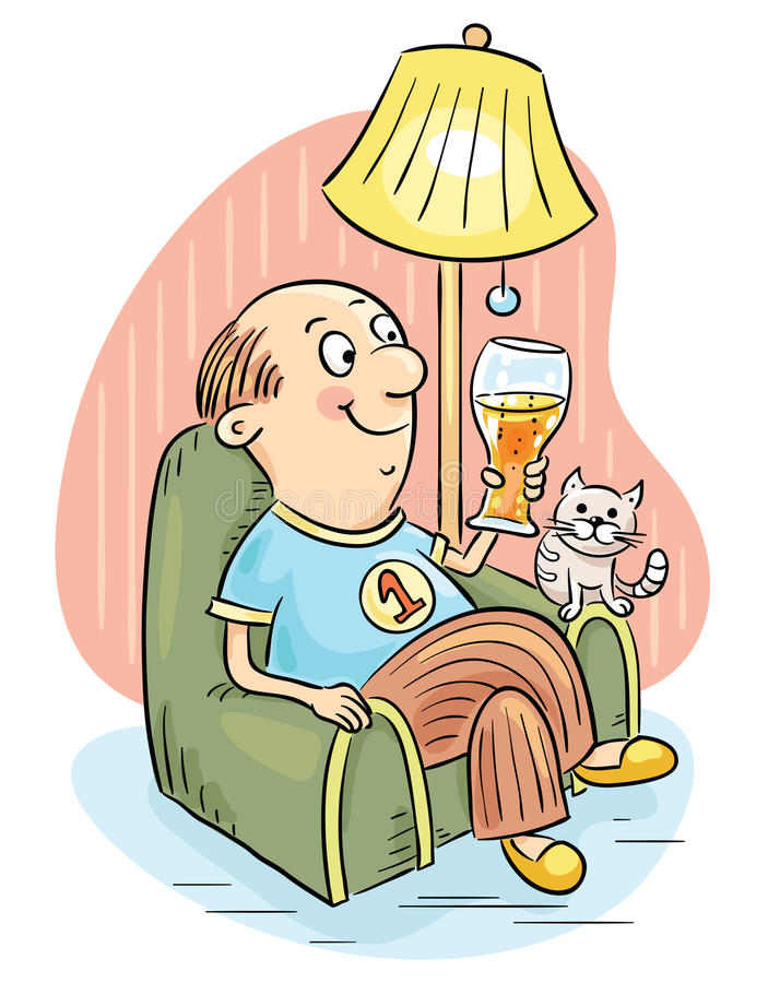 Free Man Drinking Beer In An Arm-chair Stock Images - 46497014