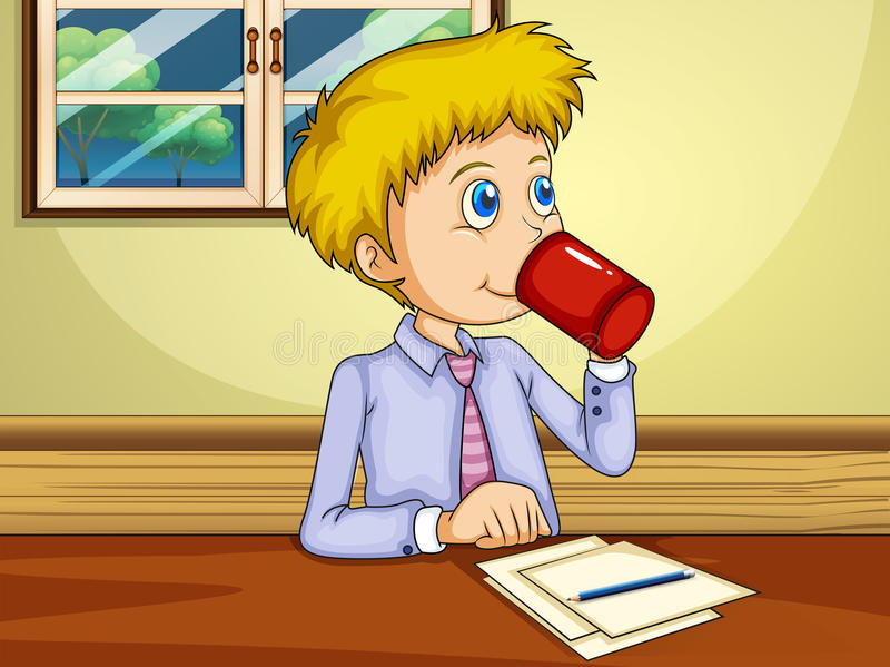 Download A Man Drinking While Making A Report Stock Photo - Image: 33908860