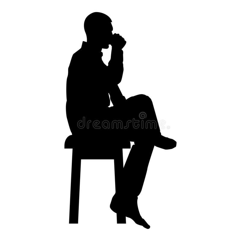 Man drinking from mug sitting on stool with crossed leg Concept relax icon black color vector illustration flat style image. Man drinking from mug sitting on stock illustration