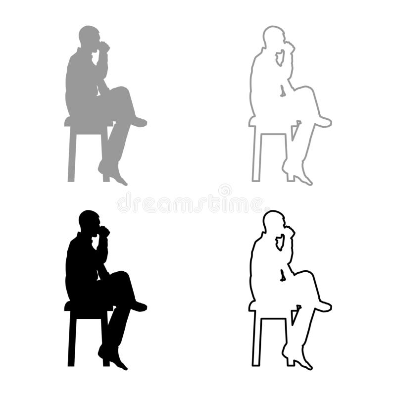 Man drinking from mug sitting on stool with crossed leg Concept relax icon set grey black color illustration outline flat style. Man drinking from mug sitting on vector illustration