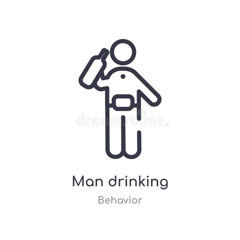 Free Man Drinking Outline Icon. Isolated Line Vector Illustration From Behavior Collection. Editable Thin Stroke Man Drinking Icon On Stock Photography - 146039982
