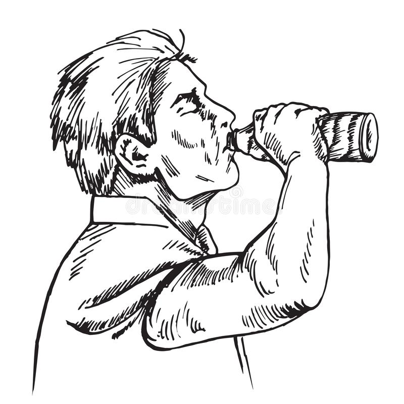 Man is drinking water from bottle, hand drawn doodle vector illustration