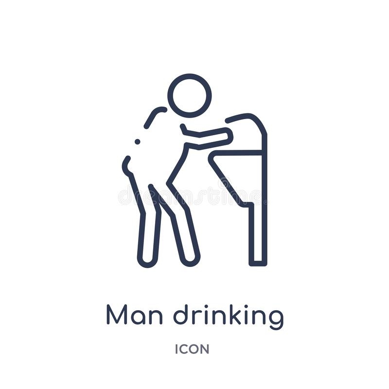 man drinking water in public place icon from people outline collection. Thin line man drinking water in public place icon isolated stock illustration