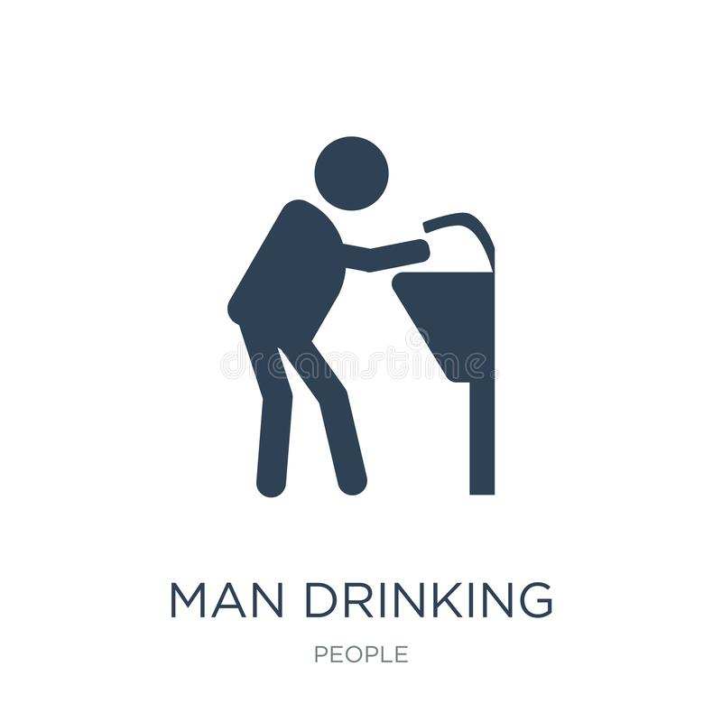 man drinking water in public place icon in trendy design style. man drinking water in public place icon isolated on white royalty free illustration