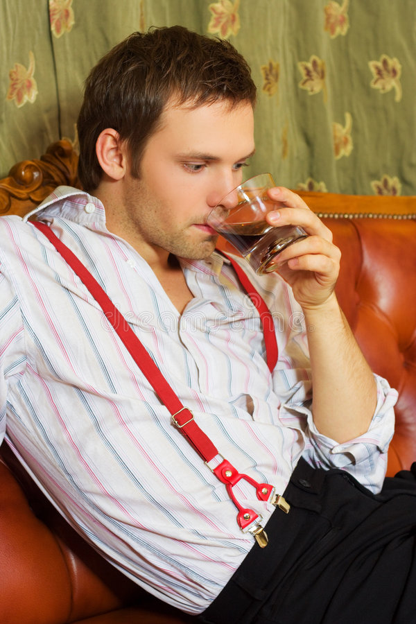 Man Drinking Whiskey Stock Photo
