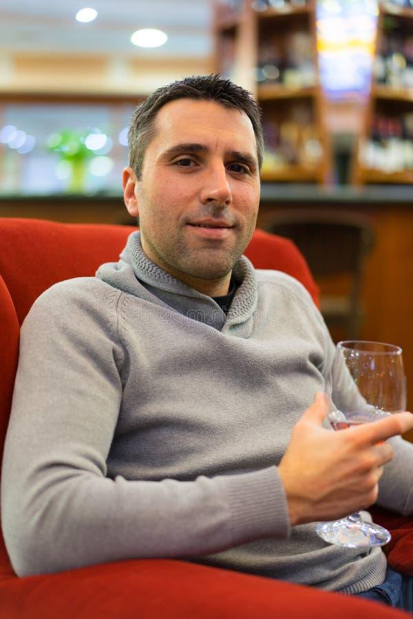 Man Drinking Wine stock photos