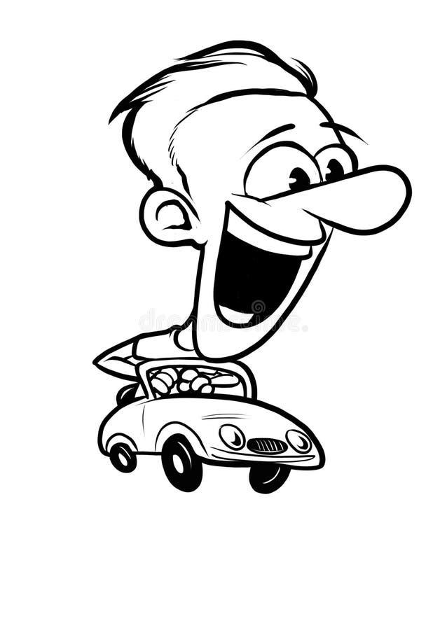 Man driving cabriolet car. Enjoying speed. stock image