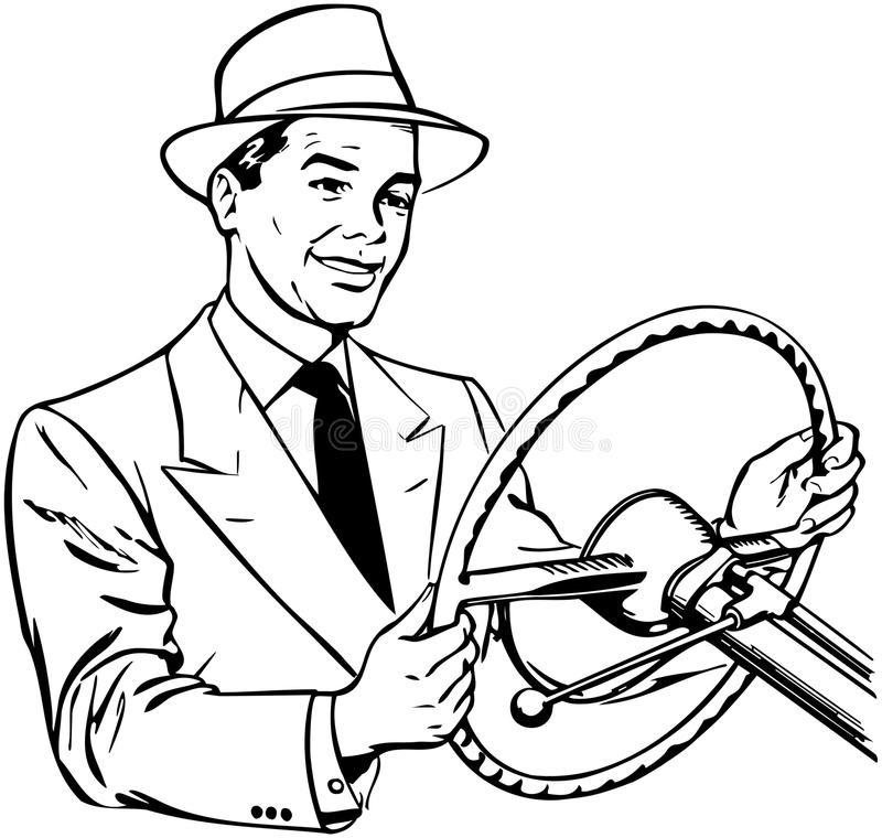 Man Driving Car royalty free illustration