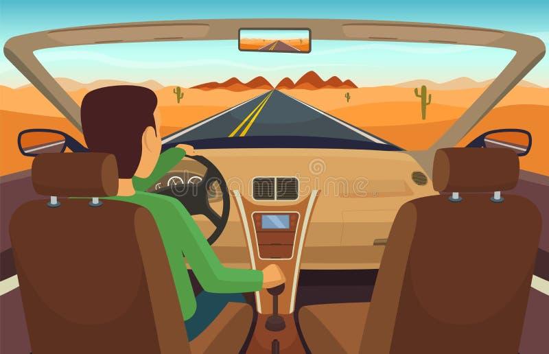 Man driving car. Cabriolet inside. Transportation, man in vehicle, vector illustration stock illustration