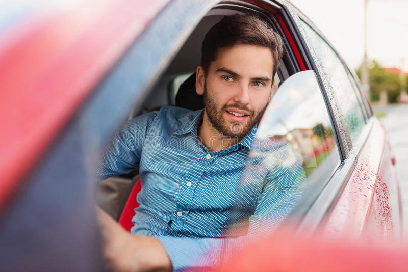 Man driving a car royalty free stock photos